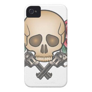 Funda Para iPhone 4 cráneo con los armas y las flores del vintage