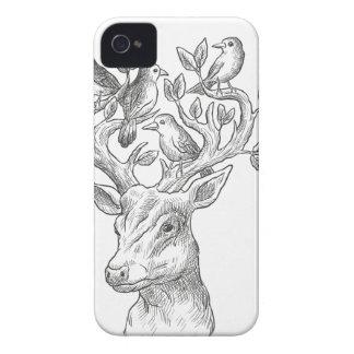 Funda Para iPhone 4 De Case-Mate ciervos animales del vintage con los pájaros