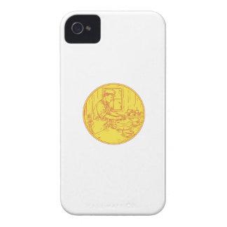 Funda Para iPhone 4 De Case-Mate Círculo tradicional Drawin del queso del quesero