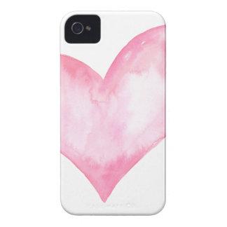 Funda Para iPhone 4 De Case-Mate Corazón rosado de la acuarela, regalo de la