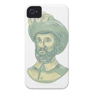 Funda Para iPhone 4 De Case-Mate Dibujo del busto de Juan Sebastian Elcano