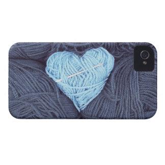 Funda Para iPhone 4 De Case-Mate Fotografía hermosa del corazón azul de las lanas