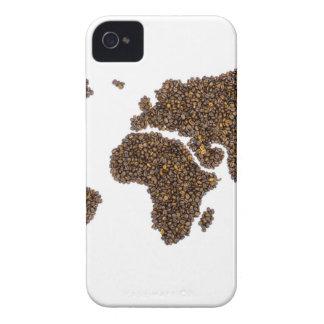 Funda Para iPhone 4 De Case-Mate Mapa del mundo llenado de los granos de café