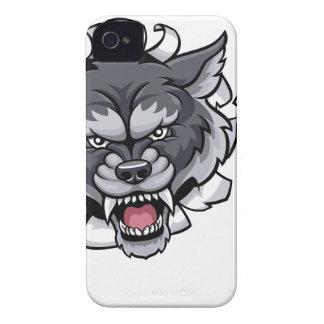 Funda Para iPhone 4 De Case-Mate Mascota del fútbol americano del lobo que rompe el