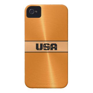 Funda Para iPhone 4 De Case-Mate Metal brillante anaranjado 5 del acero inoxidable