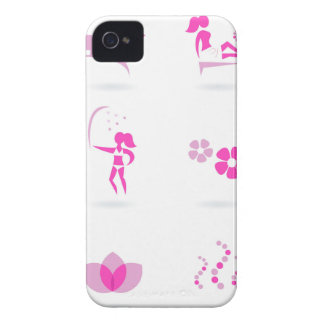 Funda Para iPhone 4 De Case-Mate Rosa de los iconos de la salud en blanco