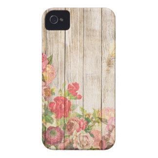 Funda Para iPhone 4 De Case-Mate Rosas románticos rústicos del vintage de madera