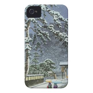 Funda Para iPhone 4 De Case-Mate Templo de Honmonji en la nieve - 川瀬巴水 de Kawase