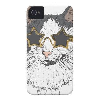 Funda Para iPhone 4 De Case-Mate Vidrios de la estrella del gato que llevan
