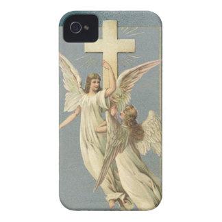 Funda Para iPhone 4 De Case-Mate Vintage Pascua, ángeles del Victorian con una cruz