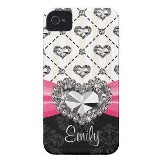 Funda Para iPhone 4 Diamante artificial rosado fucsia Blackberry B del