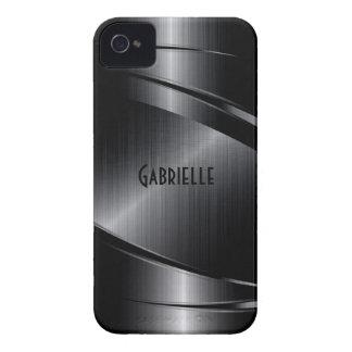 Funda Para iPhone 4 El diseño negro brillante cepilló la mirada de