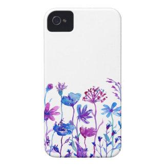 Funda Para iPhone 4 Flores púrpuras del campo de la acuarela