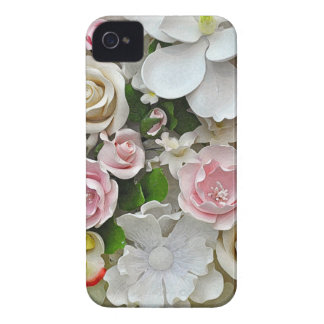 Funda Para iPhone 4 Impresión floral rosada y blanca