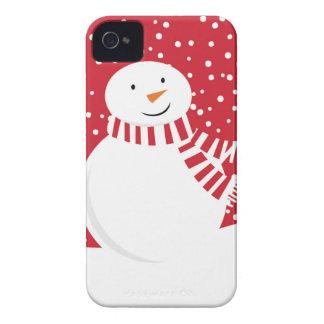 Funda Para iPhone 4 muñeco de nieve rojo y blanco contemporáneo