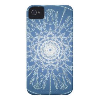 Funda Para iPhone 4 Nieve espiral pagana de Wicca del Pentagram de