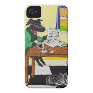 Funda Para iPhone 4 Perro que goza del café y de los anillos de espuma