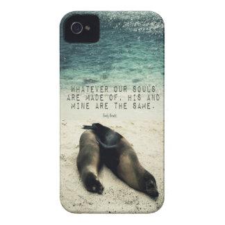 Funda Para iPhone 4 Playa romántica Emily Bronte de la cita de los