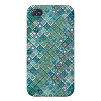 Funda Para iPhone 4 Remiendo del vintage con los elementos florales de
