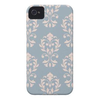 Funda Para iPhone 4 Rosa de LG Ptn II del damasco del corazón en azul