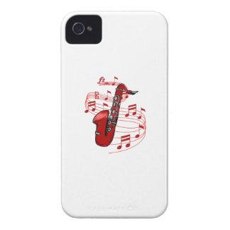 Funda Para iPhone 4 Saxofón rojo con las notas de la música