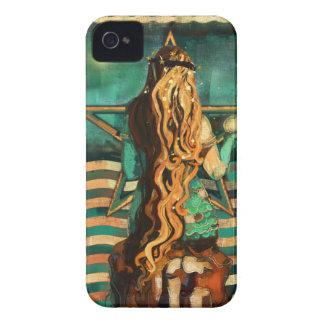 Funda Para iPhone 4 Sirena por el mar con la luna y las estrellas