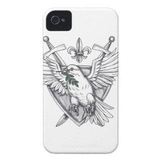 Funda Para iPhone 4 Tatuaje verde oliva del escudo de la espada de la