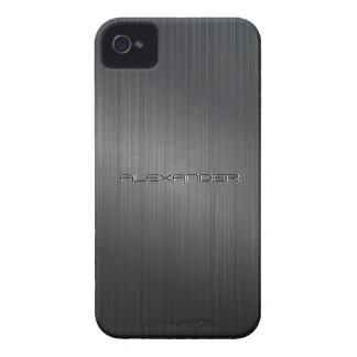 Funda Para iPhone 4 Texto de aluminio cepillado negro del