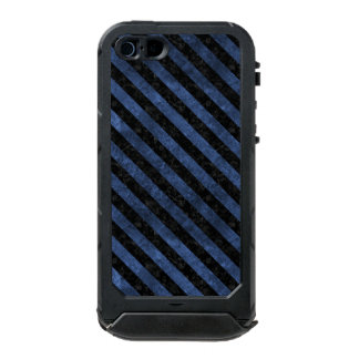 FUNDA PARA iPhone 5 INCIPIO ATLAS ID MÁRMOL NEGRO STRIPES3 Y PIEDRA AZUL (R)