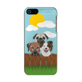 Funda Para iPhone 5 Incipio Feather Shine Perros afortunados del ilustracion en una cerca de