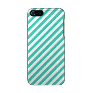 Funda Para iPhone 5 Incipio Feather Shine Trullo y modelo diagonal blanco de las rayas