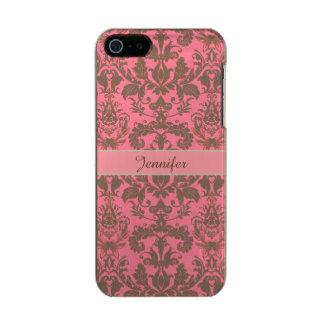 Funda Para iPhone 5 Incipio Feather Shine Vintage, rojo de la violeta pálida y nombre marrón