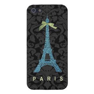 Funda Para iPhone 5 Torre Eiffel azul en falso purpurina