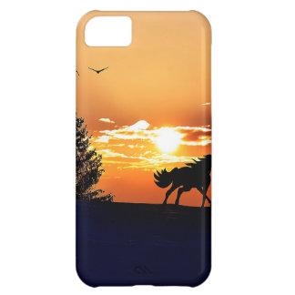 Funda Para iPhone 5C caballo corriente - caballo de la puesta del sol -