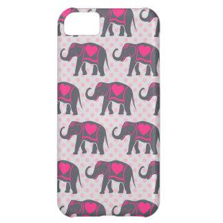 Funda Para iPhone 5C Elefantes de rosas fuertes grises bonitos en