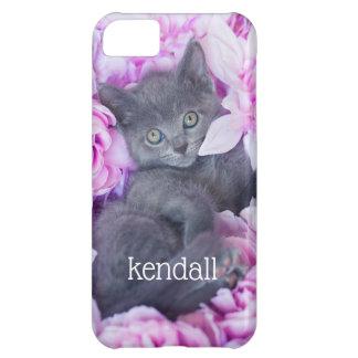 Funda Para iPhone 5C Floral púrpura del gatito del pizarrero