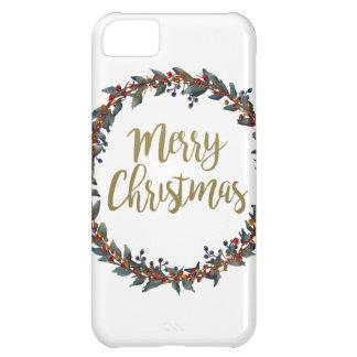 Funda Para iPhone 5C Guirnalda de la acuarela - Felices Navidad - ramas