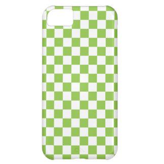 Funda Para iPhone 5C Modelo del tablero de damas del verde amarillo
