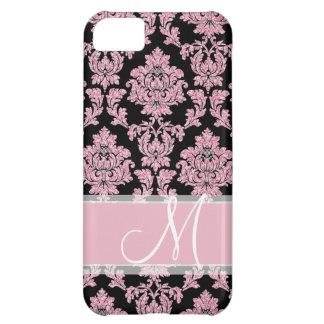 Funda Para iPhone 5C Purpurina color de rosa rosado y damasco negro,