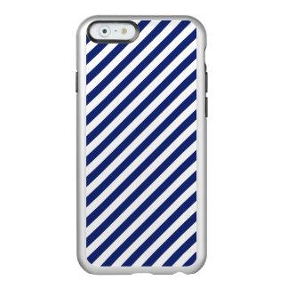 Funda Para iPhone 6 Plus Incipio Feather Shine Modelo diagonal del azul marino y blanco de las