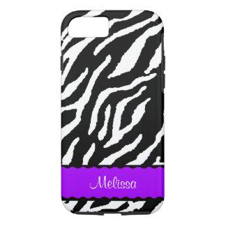 Funda Para iPhone 8/7 Acento púrpura con el tigre blanco y negro