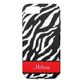 Funda Para iPhone 8/7 Acento rojo con el tigre blanco y negro