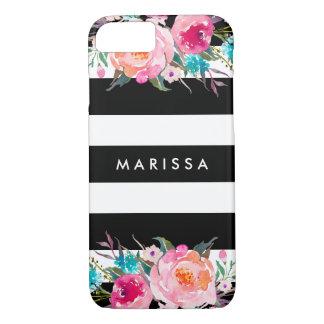 Funda Para iPhone 8/7 Acuarela floral del rosa moderno de las rayas