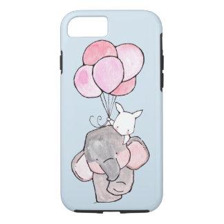 Funda Para iPhone 8/7 Amigos del elefante y del conejito con los globos