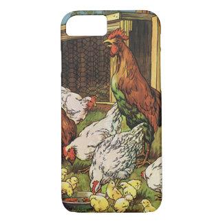 Funda Para iPhone 8/7 Animales del campo del vintage, gallo, gallinas,