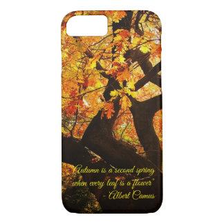 Funda Para iPhone 8/7 Arte hermoso del árbol del otoño con el texto