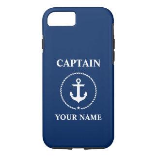 Funda Para iPhone 8/7 Azules marinos náuticos de capitán Add Name Anchor