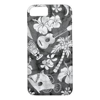Funda Para iPhone 8/7 Batik hawaiano del gris de carbón de leña de la