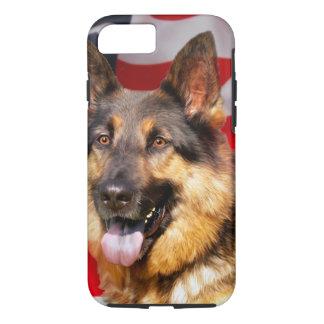 Funda Para iPhone 8/7 Blanco azul rojo del patriota del perro de pastor