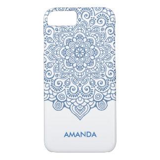 Funda Para iPhone 8/7 Blanco complejo metálico azul de la mandala del